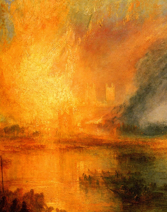"Detalhe de pintura de William Turner, ""The Burning of the House of Lords and commons""."